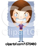 Clipart Of A Mad White Teen Girl Royalty Free Vector Illustration