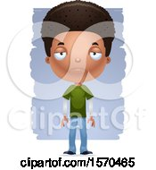 Clipart Of A Depresed Black Teen Boy Royalty Free Vector Illustration