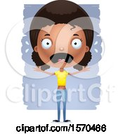 Clipart Of A Scared Black Teen Girl Royalty Free Vector Illustration