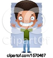 Clipart Of A Happy Black Teen Boy Royalty Free Vector Illustration