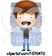 Clipart Of A Scared White Teen Boy Royalty Free Vector Illustration