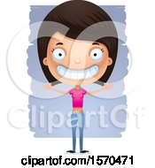 Clipart Of A Happy Hispanic Teen Girl Royalty Free Vector Illustration