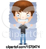 Clipart Of A Mad White Teen Boy Royalty Free Vector Illustration