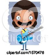 Clipart Of A Black Teen Girl Playing A Guitar Royalty Free Vector Illustration