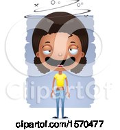 Clipart Of A Drunk Black Teen Girl Royalty Free Vector Illustration