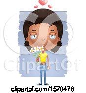 Clipart Of A Romantic Black Teen Girl Royalty Free Vector Illustration
