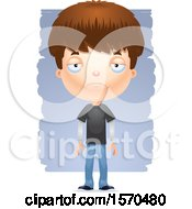 Clipart Of A Depressed White Teen Boy Royalty Free Vector Illustration