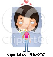 Clipart Of A Romantic Hispanic Teen Girl Royalty Free Vector Illustration