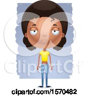 Clipart Of A Depressed Black Teen Girl Royalty Free Vector Illustration