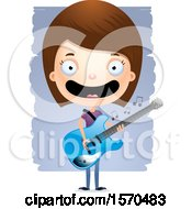 White Teen Girl Playing A Guitar