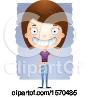 Clipart Of A Friendly Waving White Teen Girl Royalty Free Vector Illustration