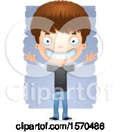 Clipart Of A Happy White Teen Boy Royalty Free Vector Illustration