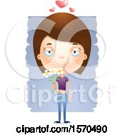 Clipart Of A Romantic White Teen Girl Royalty Free Vector Illustration