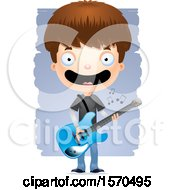 Clipart Of A White Teen Boy Playing A Guitar Royalty Free Vector Illustration