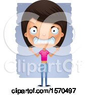 Clipart Of A Mad Hispanic Teen Girl Royalty Free Vector Illustration