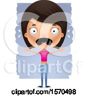 Clipart Of A Scared Hispanic Teen Girl Royalty Free Vector Illustration