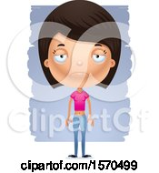 Clipart Of A Depressed Hispanic Teen Girl Royalty Free Vector Illustration