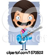 Clipart Of A Hispanic Teen Girl Playing A Guitar Royalty Free Vector Illustration
