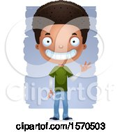 Clipart Of A Friendly Waving Black Teen Boy Royalty Free Vector Illustration