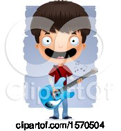 Clipart Of A Hispanic Teen Boy Playing A Guitar Royalty Free Vector Illustration