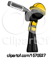 Black Construction Worker Contractor Man Thermometer In Mouth