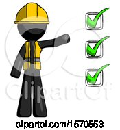 Black Construction Worker Contractor Man Standing By List Of Checkmarks