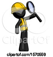 Black Construction Worker Contractor Man Inspecting With Large Magnifying Glass Facing Up