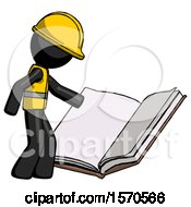 Poster, Art Print Of Black Construction Worker Contractor Man Reading Big Book While Standing Beside It