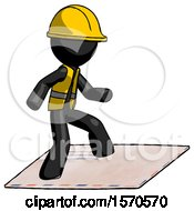 Black Construction Worker Contractor Man On Postage Envelope Surfing