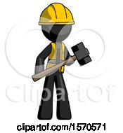 Black Construction Worker Contractor Man With Sledgehammer Standing Ready To Work Or Defend