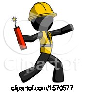 Black Construction Worker Contractor Man Throwing Dynamite