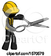 Black Construction Worker Contractor Man Holding Giant Scissors Cutting Out Something