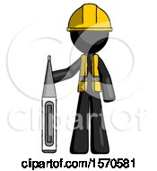 Black Construction Worker Contractor Man Standing With Large Thermometer
