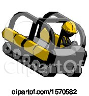 Black Construction Worker Contractor Man Driving Amphibious Tracked Vehicle Top Angle View