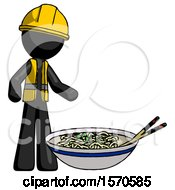 Black Construction Worker Contractor Man And Noodle Bowl Giant Soup Restaraunt Concept