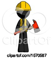 Black Construction Worker Contractor Man Holding Red Fire Fighters Ax