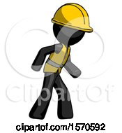 Black Construction Worker Contractor Man Suspense Action Pose Facing Right