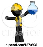 Black Construction Worker Contractor Man Holding Large Round Flask Or Beaker