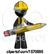 Black Construction Worker Contractor Man Writer Or Blogger Holding Large Pencil
