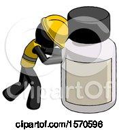 Black Construction Worker Contractor Man Pushing Large Medicine Bottle
