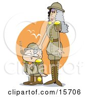 Tall Woman Taping Her Short Husbands Head While In Uniform On Safari Clipart Illustration