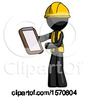 Black Construction Worker Contractor Man Reviewing Stuff On Clipboard