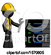 Black Construction Worker Contractor Man Server Administrator Doing Repairs