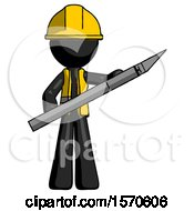 Black Construction Worker Contractor Man Holding Large Scalpel