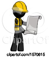 Black Construction Worker Contractor Man Holding Blueprints Or Scroll