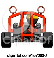 Black Construction Worker Contractor Man Riding Sports Buggy Front View