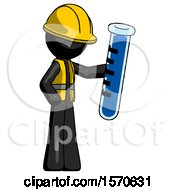 Black Construction Worker Contractor Man Holding Large Test Tube