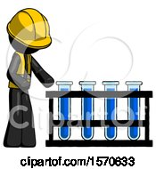 Black Construction Worker Contractor Man Using Test Tubes Or Vials On Rack