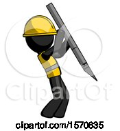 Black Construction Worker Contractor Man Stabbing Or Cutting With Scalpel