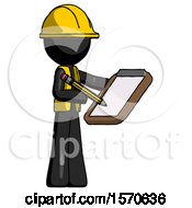 Black Construction Worker Contractor Man Using Clipboard And Pencil